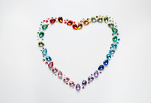 Frame Made Of Different Beautiful Gemstones On White Background, Top View. Space For Text