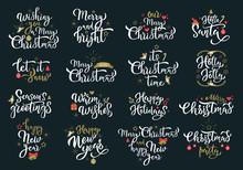 Merry Christmas Greetings White Calligraphy Phrases Set