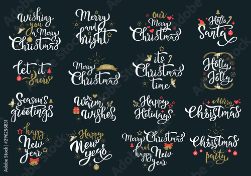 Fotografía  Merry Christmas greetings white calligraphy phrases set