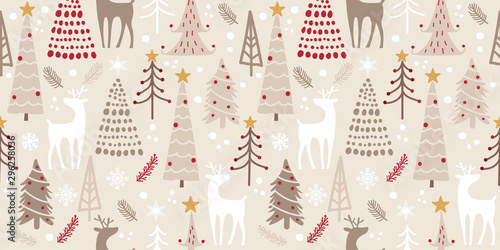 fototapeta na drzwi i meble whimsical winter forest seamless pattern for decoration, wallpaper and many more