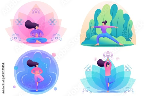 Pinturas sobre lienzo  Set Flat 2D concepts by doing yoga, pose, asana, outdoors in the Park and on bright backgrounds