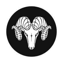 Aries Graphic Icon. Ram Head S...