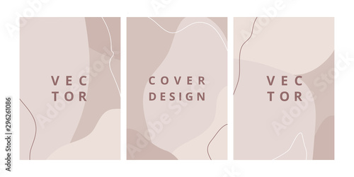 Fototapety, obrazy: Fashion set of abstract backgrounds with organic shapes and hand draw line in pastel colors. Modern design template with space for text. Minimal stylish cover for branding design. Vector illustration