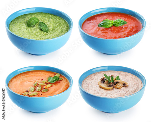 Cream soups collection isolated on a white background. Pumpkin, tomato, gazpacho, mushroom, green pea, broccoli, kale and spinach.