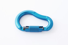 Nice Lighting. Isolated Photo Of Climbing Equipment - Blue Colored Part Of Carabiner