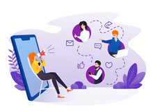 Woman Referring Friends With Smartphone Illustration. Referral Marketing, Affiliate Marketing, Network Marketing, Business Partnership, Referral Program Strategy