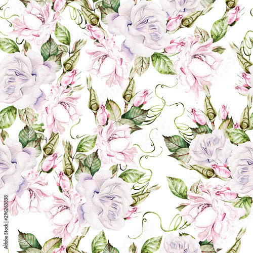 Beautiful watercolor seamless pattern with roses and bud. Canvas Print