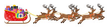 Santa Claus Sleigh Full Of Gifts And His Reindeers. Happy New Year Decoration. Merry Christmas Holiday. New Year And Xmas Celebration. Vector Illustration In Flat Style