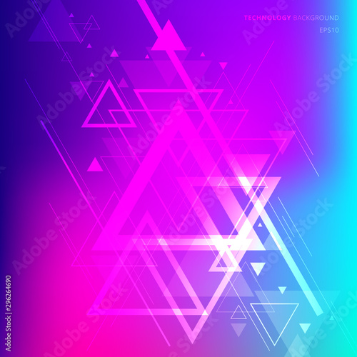 Obraz Abstract technology futuristic geometric triangles overlapping on vibrant gradient background. - fototapety do salonu