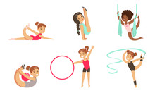 Gymnast Girls Performing Rhythmic Gymnastics Elements With Ball, Ribbon, Hoop, Aerial Silks Vector Illustration