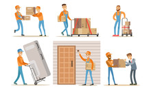 Delivery Service Workers Set, Couriers Characters Delivering Packages, Household Appliances To Clients Vector Illustration