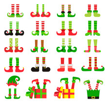 Christmas Elf Feet Set, Vector...
