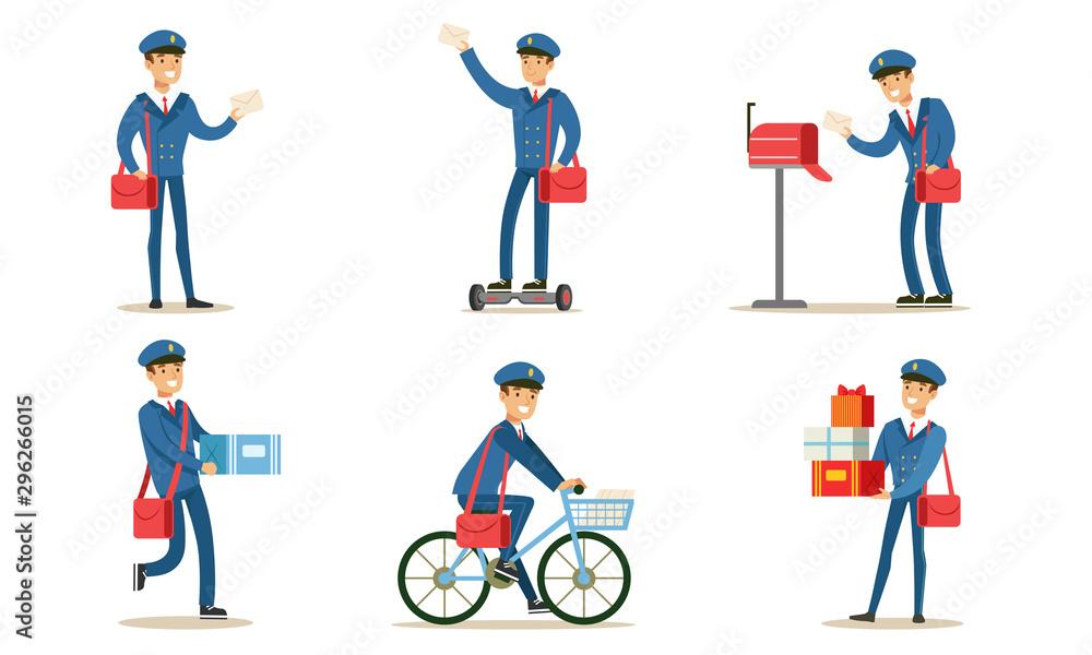 Fototapety, obrazy: Postman or Mailman Delivering Mails and Packages Set Vector Illustration