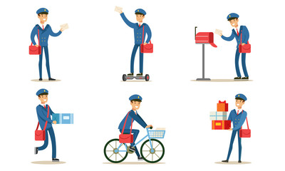 Obraz na SzklePostman or Mailman Delivering Mails and Packages Set Vector Illustration