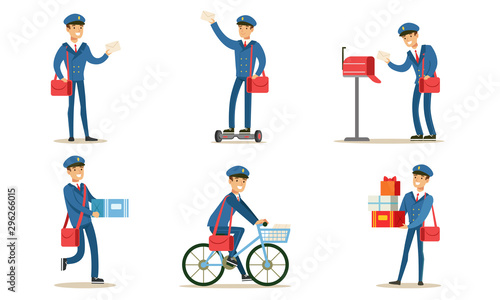 Postman or Mailman Delivering Mails and Packages Set Vector Illustration