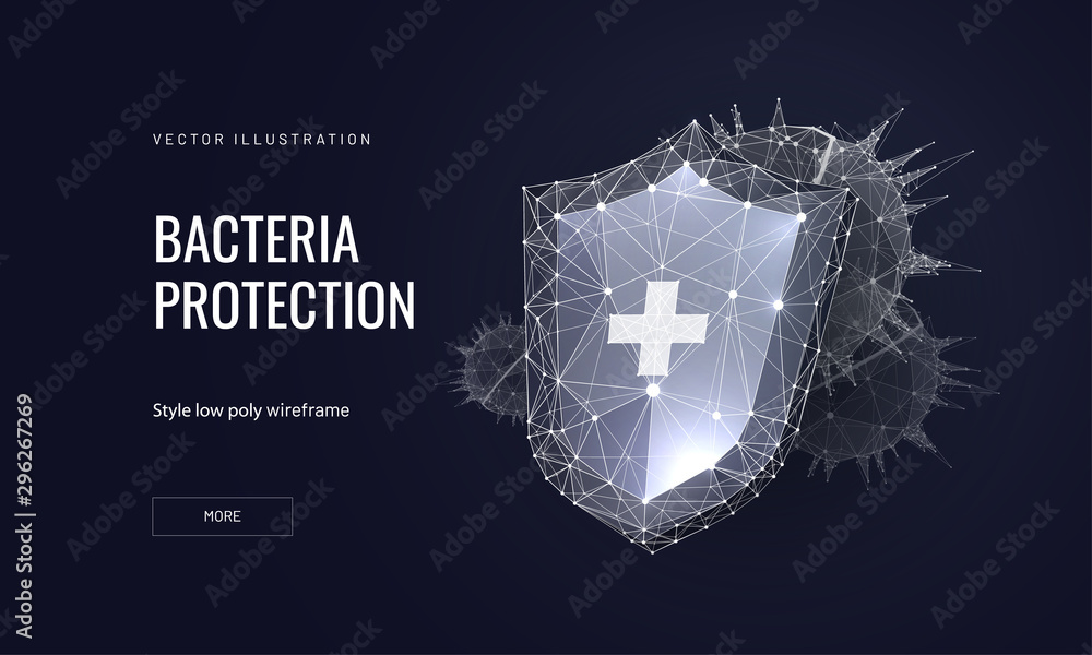 Fototapeta Bacteria protection low poly wireframe landing page template. Microbiology science web banner. 3d bacterium and protective shield polygonal illustration. Cure action mesh art homepage design layout