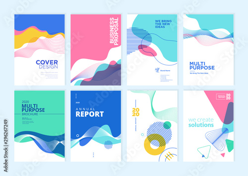 Obraz Set of brochure, annual report, cover design templates. Vector illustrations for business presentation, business paper, corporate document, flyer and marketing material. - fototapety do salonu