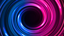 Abstract Neon Background With Light Circles, Geometric Shapes Made Of Neon. Abstract Light, Scene, Purple, Pink, Blue Neon, Portal. Futuristic Neon Background, Neon Circle.