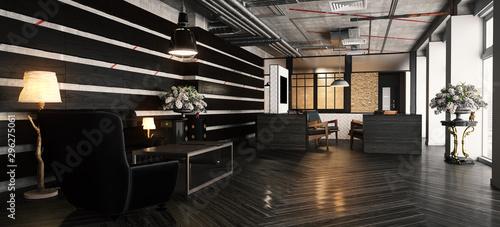 Luxuriöse Empfangshalle im Hotel mit mehreren Sitzgelegenheiten (3d rendering) Canvas Print