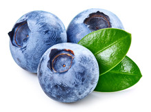 Blueberries And Leaves Isolated On White. Tasty Blueberry Clipping Path. Fresh Ripe Blueberry