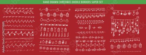Photo  Hand drawn Christmas line, border, frame vector doodle design element set