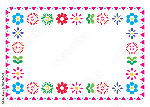 Foto Mexican vector greeting card or wedding invitation, decorative design with flowe