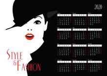 Calendar With Fashion Woman. Vector Illustration