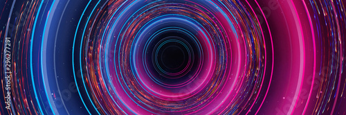 Obraz na plátně  Abstract neon background with light circles, geometric shapes made of neon