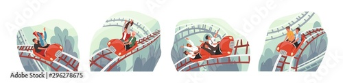 Photo People ride roller coaster flat vector illustrations set