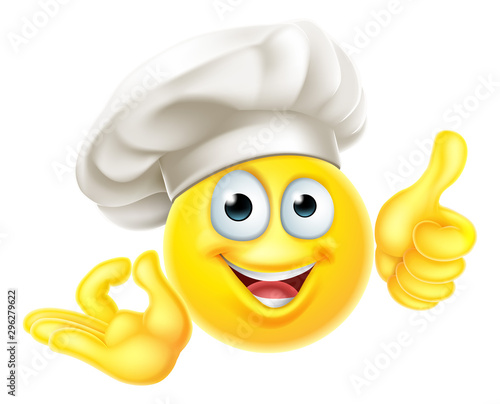 An Emoji Chef Cook Cartoon character giving a thumbs up and okay perfect gesture Wallpaper Mural