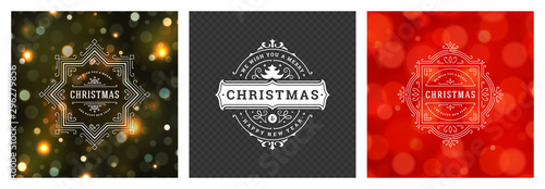 Obraz Christmas photo overlays vintage typographic design ornate decoration symbols with holidays wishes vector illustration - fototapety do salonu