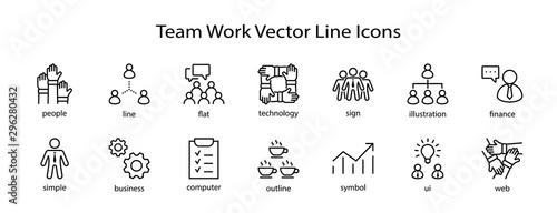 Set of Team Work Related Vector Line Icons. Contains such Icons as Handshake, Check, Idea, Coffee, Gears, Cooperation, Collaboration, Team Meeting and more. Editable Stroke. 32x32 Pixel Perfect