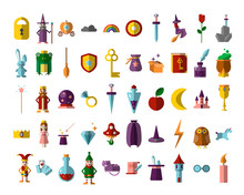 Flat Vector Set Of Fabulous Magical Halloween Items. Book, Magic Ball, Wizard Hat, Bottles With Elixirs, Castle, Cauldrons, Personages And Animals. Gaming Resources