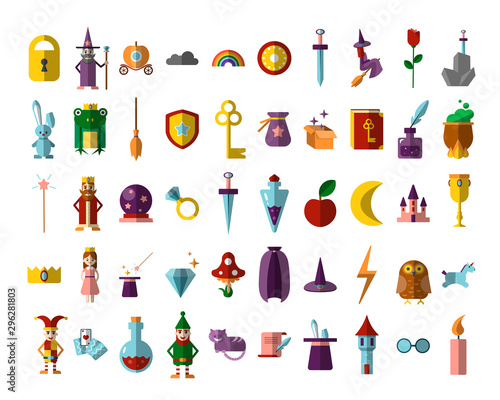 Cuadros en Lienzo Flat vector set of fabulous magical halloween items