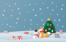 Merry Christmas And Happy New Year Greeting Card In Paper Cut Style. Vector Illustration Christmas Celebration Background With Happy Baby Fox Making Snowman On Snow Field. Poster, Wallpaper, Backdrop.