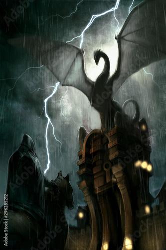 Fototapeta  un dragon sur un chateau avec un éclair