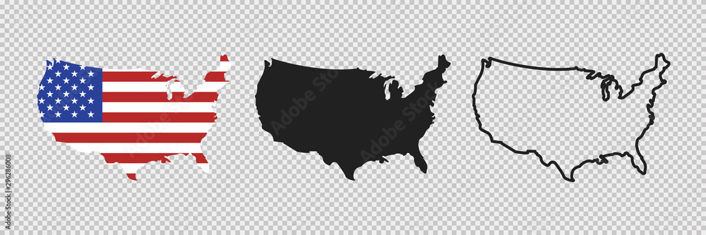 Fototapety, obrazy: United states map. Linear icon. Transparent background. Vector isolated elements. Usa map icon line symbol.