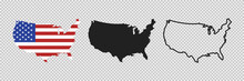 United States Map. Linear Icon. Transparent Background. Vector Isolated Elements. USA Map Icon Line Symbol.
