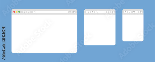 Obraz Browser window isolated vector web elements. Design template with browser window for mobile device design. Blank template. Website template design. Mockup for web site design. - fototapety do salonu