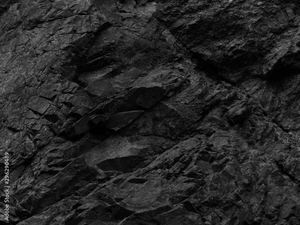 Fototapety, obrazy: Black stone background. Rocks texture. Bright black grunge background. Mountain close-up.