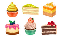 Yummy Sweet Desserts Vector Il...