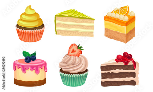 Fotografiet Yummy Sweet Desserts Vector Illustration Set Isolated On White Background