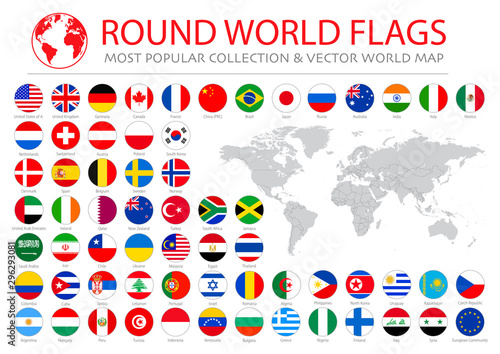 Photo sur Aluminium Graffiti collage World flags vector collection. 36 high quality clean round icons. Correct color scheme