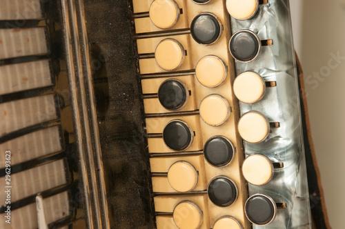 The old rare accordion buttons close up view. Tapéta, Fotótapéta