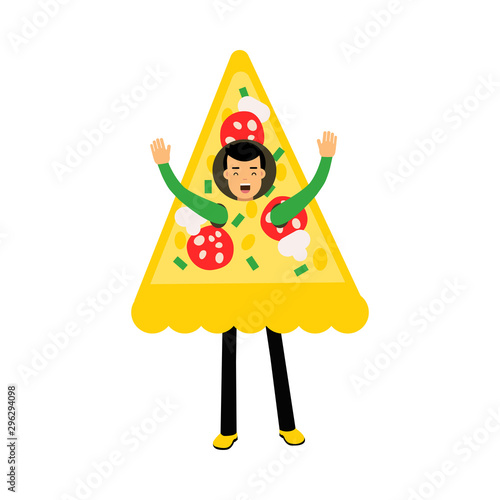 Young Dark-haired Boy Character Standing Wearing Pizza Slice Costume And Waving Slika na platnu