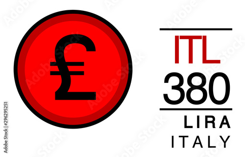 Tela  ITL, 380, Lira, Italy Banking Currency icon typography logo banner set isolated on background
