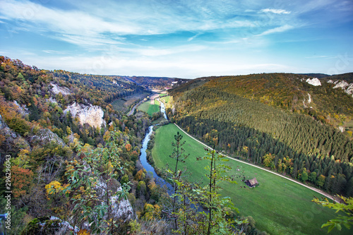 Foto view from knopfmacherfelsen to Donau valley Germany