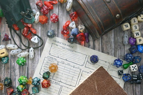 Tabletop roleplaying flat lay with colorful RPG and game dices,  character sheet Tablou Canvas