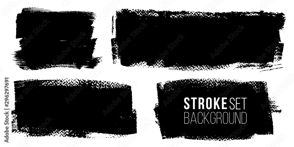 Fototapety, obrazy: Vector set of hand drawn brush strokes, stains for backdrops. Monochrome design elements set. One color monochrome artistic hand drawn backgrounds.