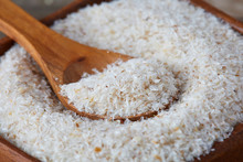 Close Up Of Psyllium (ispaghula) Husk In Wooden Spoon